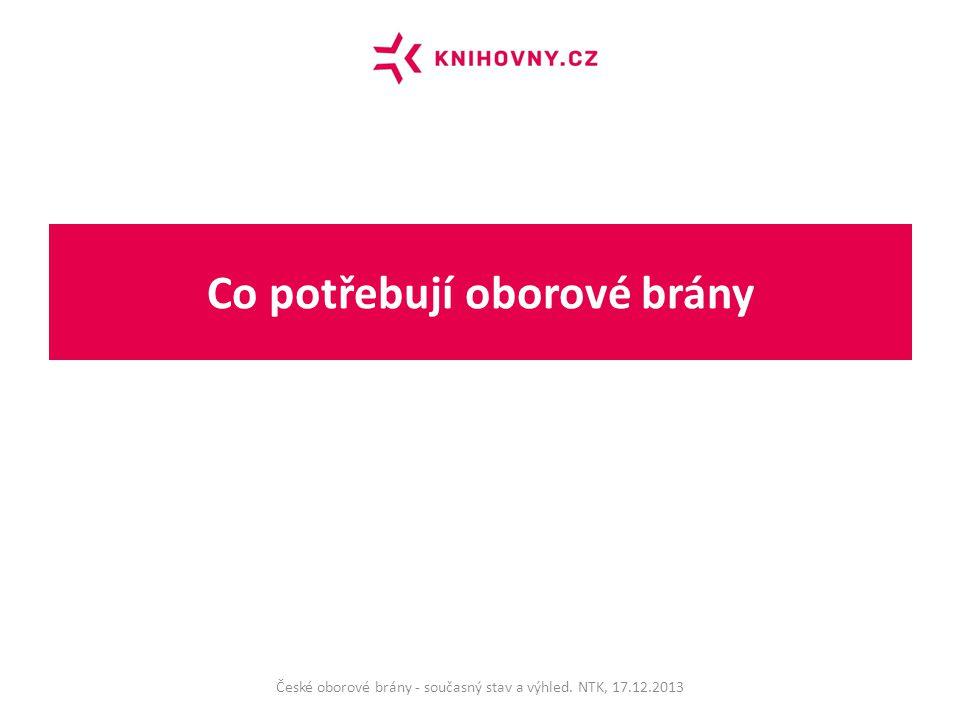 Co potřebují oborové brány České oborové brány - současný stav a výhled. NTK, 17.12.2013