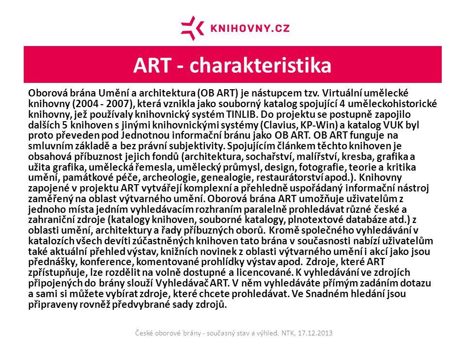 ART - charakteristika Oborová brána Umění a architektura (OB ART) je nástupcem tzv.