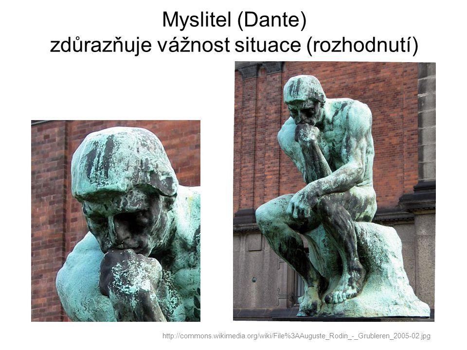 Myslitel (Dante) zdůrazňuje vážnost situace (rozhodnutí) http://commons.wikimedia.org/wiki/File%3AAuguste_Rodin_-_Grubleren_2005-02.jpg