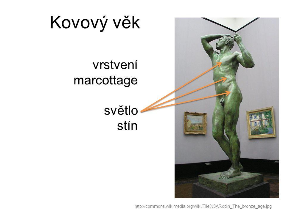 Kovový věk http://commons.wikimedia.org/wiki/File%3ARodin_The_bronze_age.jpg vrstvení marcottage světlo stín