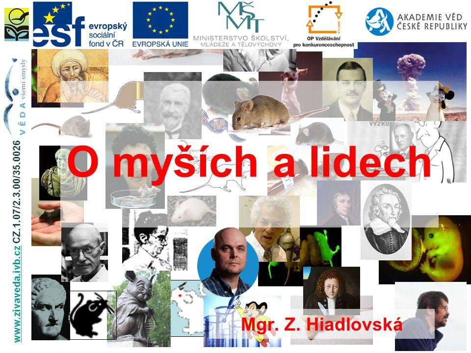 O myších a lidech Mgr. Z. Hiadlovská www.zivaveda.ivb.czwww.zivaveda.ivb.cz CZ.1.07/2.3.00/35.0026