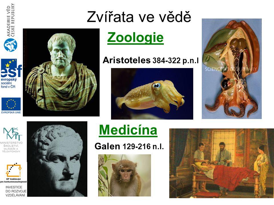 Zvířata ve vědě Zoologie Medicína Aristoteles 384-322 p.n.l Galen 129-216 n.l.