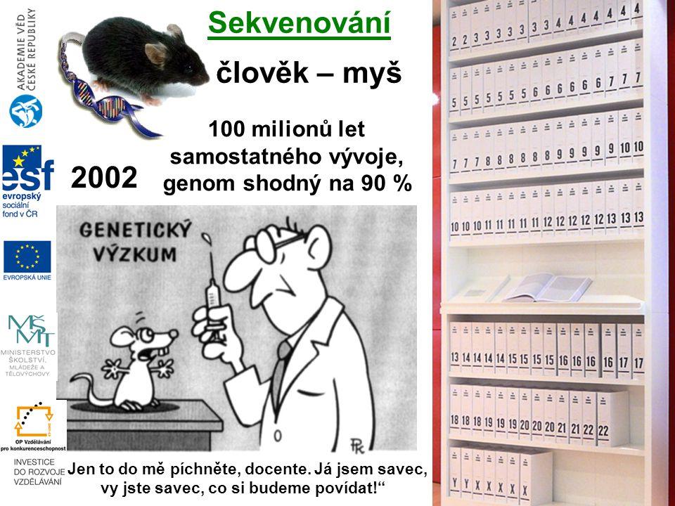 """Sekvenování 100 milionů let samostatného vývoje, genom shodný na 90 % 2002 člověk – myš """"Jen to do mě píchněte, docente."""