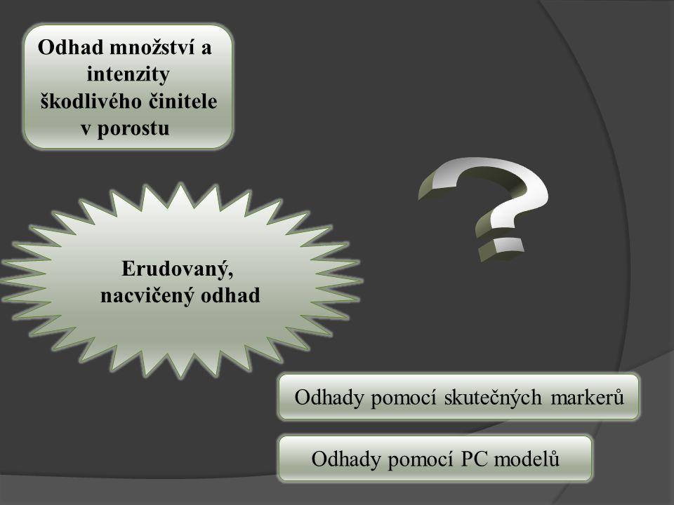 Odhad množství a intenzity škodlivého činitele v porostu Erudovaný, nacvičený odhad Odhady pomocí skutečných markerů Odhady pomocí PC modelů