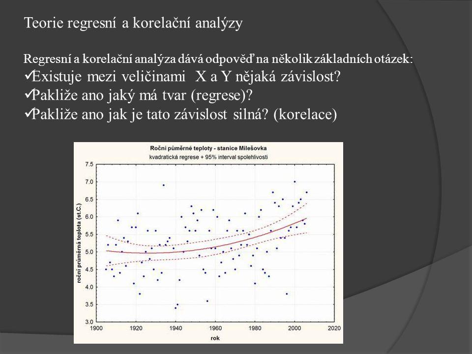 Teorie regresní a korelační analýzy Regresní a korelační analýza dává odpověď na několik základních otázek: Existuje mezi veličinami X a Y nějaká závislost.