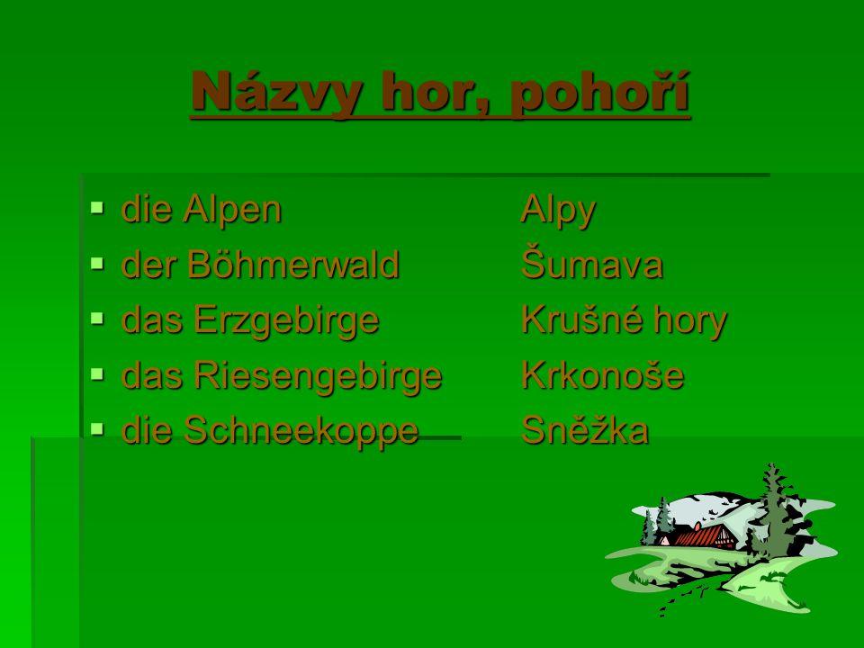 Spojení s názvy hor ppppoužívají se se členem určitým sssspojují se zpravidla s předložkou AUF nnnnapříklad: auf die Schneekoppe – na Sněžku auf der Zugspitze