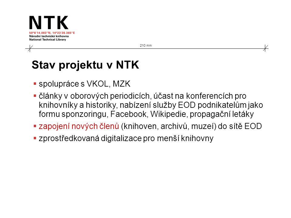 210 mm Stav projektu v NTK  spolupráce s VKOL, MZK  články v oborových periodicích, účast na konferencích pro knihovníky a historiky, nabízení služb