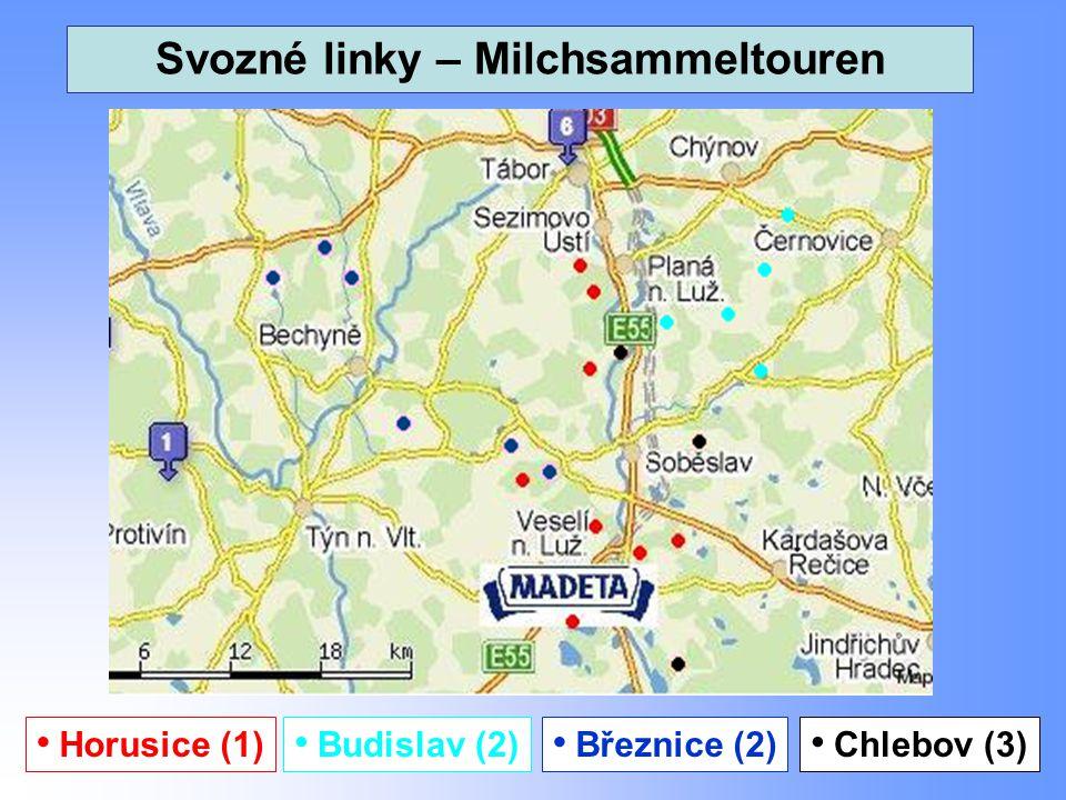 15 Svozné linky – Milchsammeltouren Horusice (1) Březnice (2) Budislav (2) Chlebov (3)