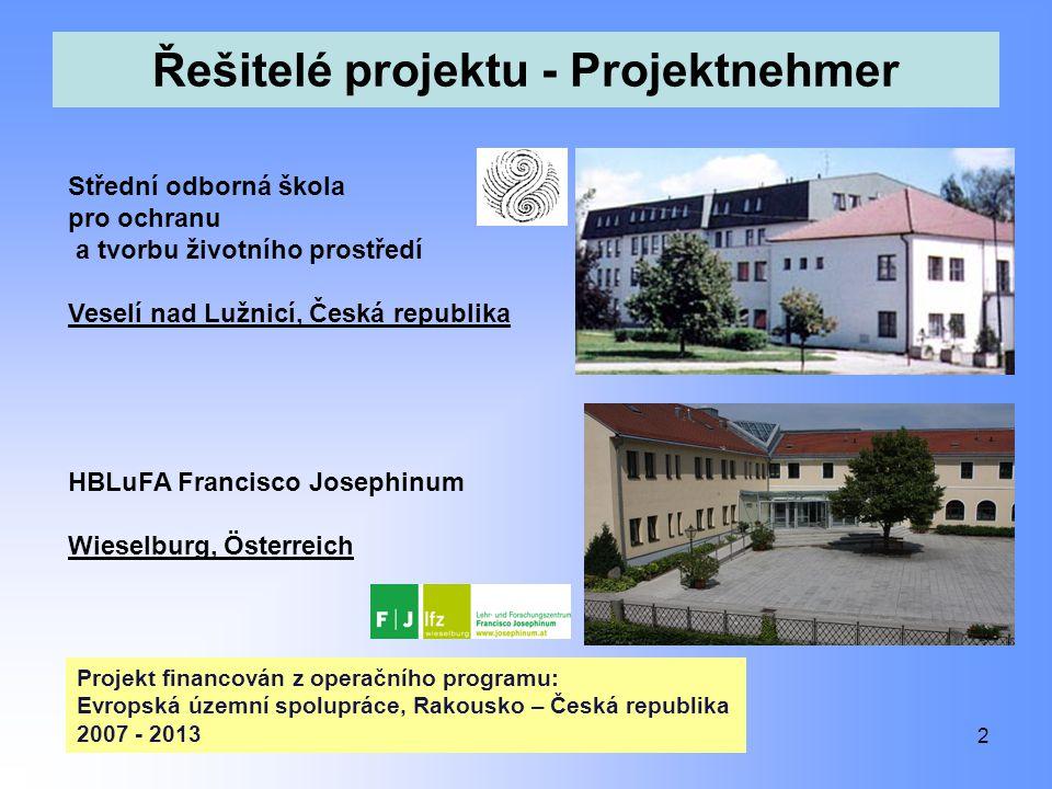 Řešitelé projektu - Projektnehmer 2 Střední odborná škola pro ochranu a tvorbu životního prostředí Veselí nad Lužnicí, Česká republika HBLuFA Francisc