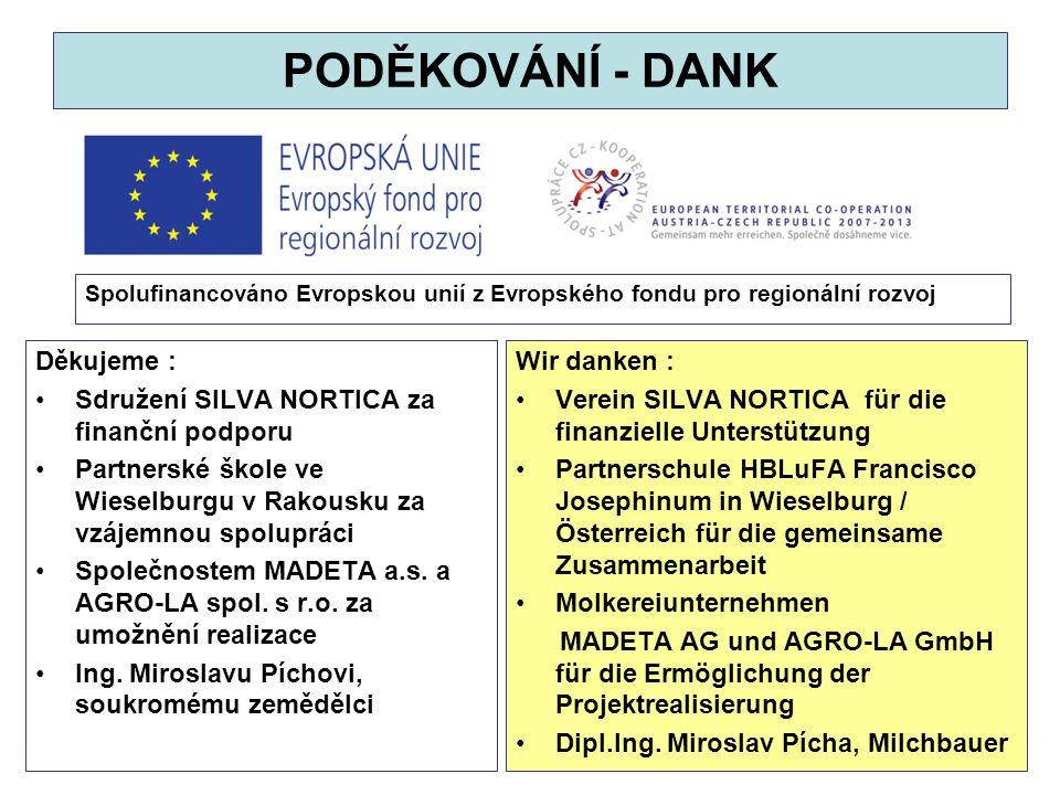 Spolufinancováno Evropskou unií z Evropského fondu pro regionální rozvoj 31 PODĚKOVÁNÍ - DANK Děkujeme : Sdružení SILVA NORTICA za finanční podporu Pa