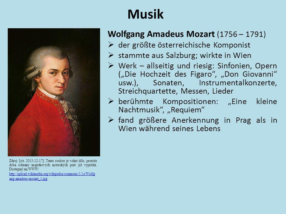 Wolfgang Amadeus Mozart (1756 – 1791)  der größte österreichische Komponist  stammte aus Salzburg; wirkte in Wien  Werk – allseitig und riesig: Sin