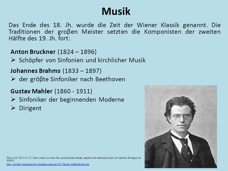 Das Ende des 18. Jh. wurde die Zeit der Wiener Klassik genannt. Die Traditionen der groβen Meister setzten die Komponisten der zweiten Hälfte des 19.