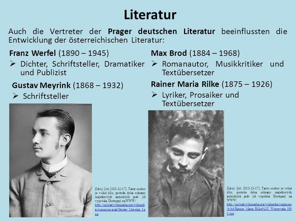 """Literatur Franz Kafka (1883 – 1924)  nahm eine Sonderstellung ein  erst nach seinem Tode begann die auβerordentliche Nachwirkung seines Werkes  Erzählungen: """"Das Urteil , """"Die Verwandlung , """"In der Strafkolonie  Romane: """"Amerika , """"Der Prozess , """"Das Schloss Zdroj: [cit."""