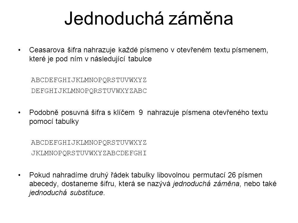 Klíč pro jednoduchou záměnu Klíčem může být například následující tabulka ABCDEFGHIJKLMNOPQRSTUVWXYZ YMIHBAWCXVDNOJKUQPRTFELGZS Použijeme-li tento klíč (tabulku) k zašifrování zprávy PRIJD VECER K ZELENEMU STROMU Dostaneme šifrový text UPXVH EBIBP D SBNBJBOF RTPKOF Základní slabinou jednoduché záměny je skutečnost, že zachovává rozložení frekvencí písmen v přirozeném jazyce.