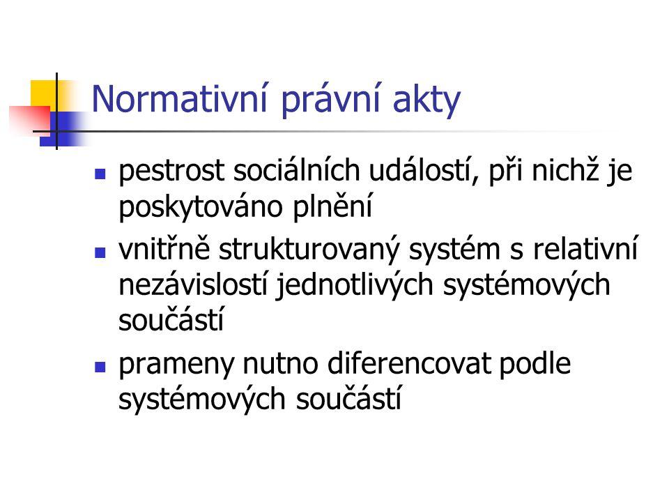 Normativní právní akty pestrost sociálních událostí, při nichž je poskytováno plnění vnitřně strukturovaný systém s relativní nezávislostí jednotlivýc