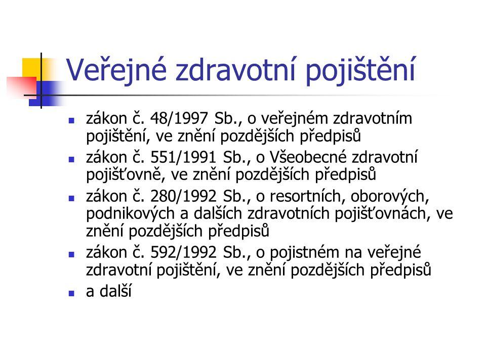 Veřejné zdravotní pojištění zákon č. 48/1997 Sb., o veřejném zdravotním pojištění, ve znění pozdějších předpisů zákon č. 551/1991 Sb., o Všeobecné zdr