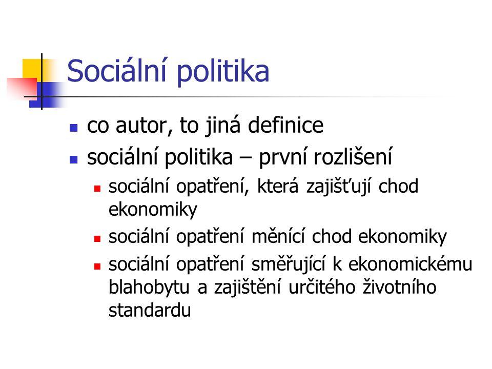 Sociální politika sociální politika – druhé rozlišení široké pojetí: jednání státu, kterým je ovlivňována sociální realita dané společnosti (dlouhodobé koncepční úvahy o sociální politice) jako oblast hospodářské politiky, má eliminovat sociální tvrdosti, které doprovázejí fungování tržního mechanismu (zaměstnanost, mzdový vývoj, sociální zabezpečení) úzké pojetí - sociální politika je ztotožněna se sociálním zabezpečením