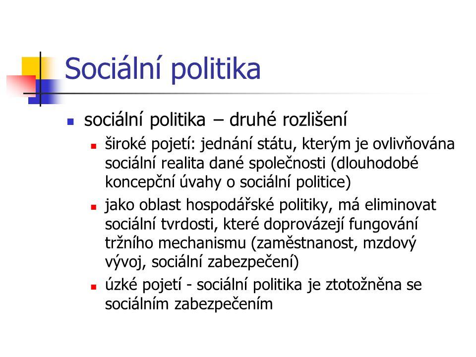 Sociální politika sociální politika – druhé rozlišení široké pojetí: jednání státu, kterým je ovlivňována sociální realita dané společnosti (dlouhodob