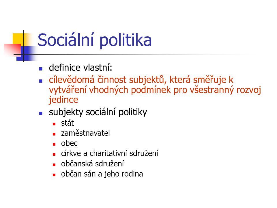Sociální politika – základní principy a funkce základní principy princip sociální spravedlnosti princip sociální solidarity princip subsidiarity princip participace funkce ochranná rozdělovací a přerozdělovací homogenizační stimulační preventivní