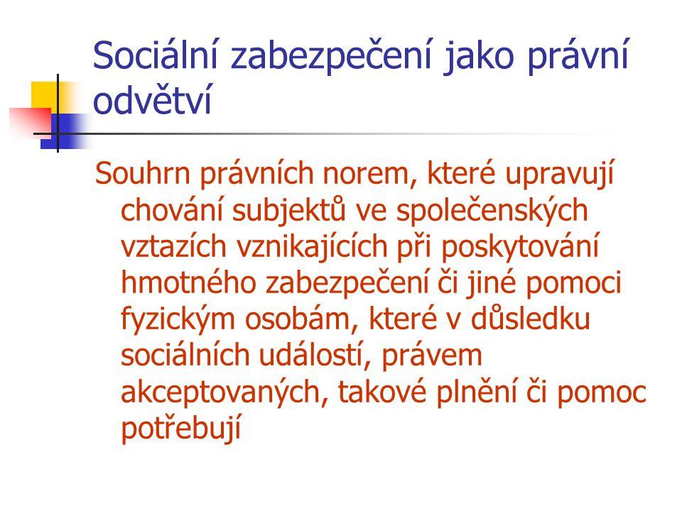 Sociální zabezpečení jako právní odvětví Souhrn právních norem, které upravují chování subjektů ve společenských vztazích vznikajících při poskytování