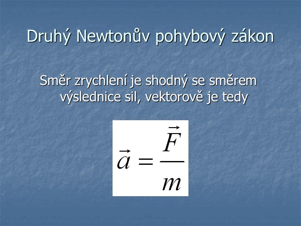 Druhý Newtonův pohybový zákon Směr zrychlení je shodný se směrem výslednice sil, vektorově je tedy