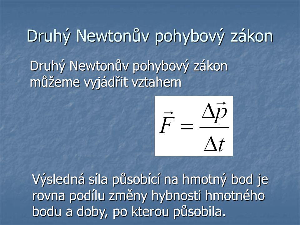 Druhý Newtonův pohybový zákon Druhý Newtonův pohybový zákon můžeme vyjádřit vztahem Výsledná síla působící na hmotný bod je rovna podílu změny hybnost