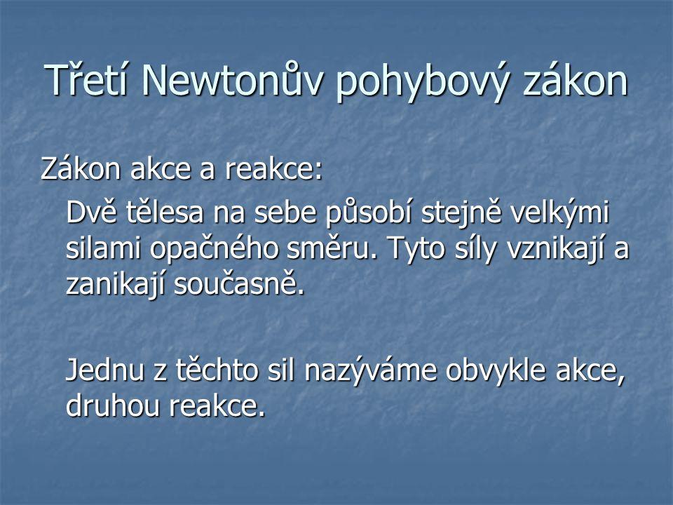 Třetí Newtonův pohybový zákon Zákon akce a reakce: Dvě tělesa na sebe působí stejně velkými silami opačného směru. Tyto síly vznikají a zanikají souča
