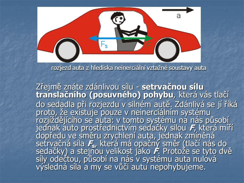 rozjezd auta z hlediska neinerciální vztažné soustavy auta Zřejmě znáte zdánlivou sílu - setrvačnou sílu translačního (posuvného) pohybu, která vás tl