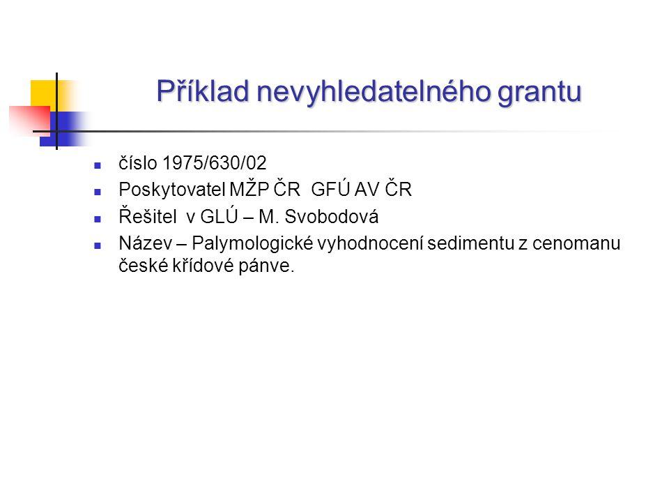 Příklad nevyhledatelného grantu číslo 1975/630/02 Poskytovatel MŽP ČR GFÚ AV ČR Řešitel v GLÚ – M.