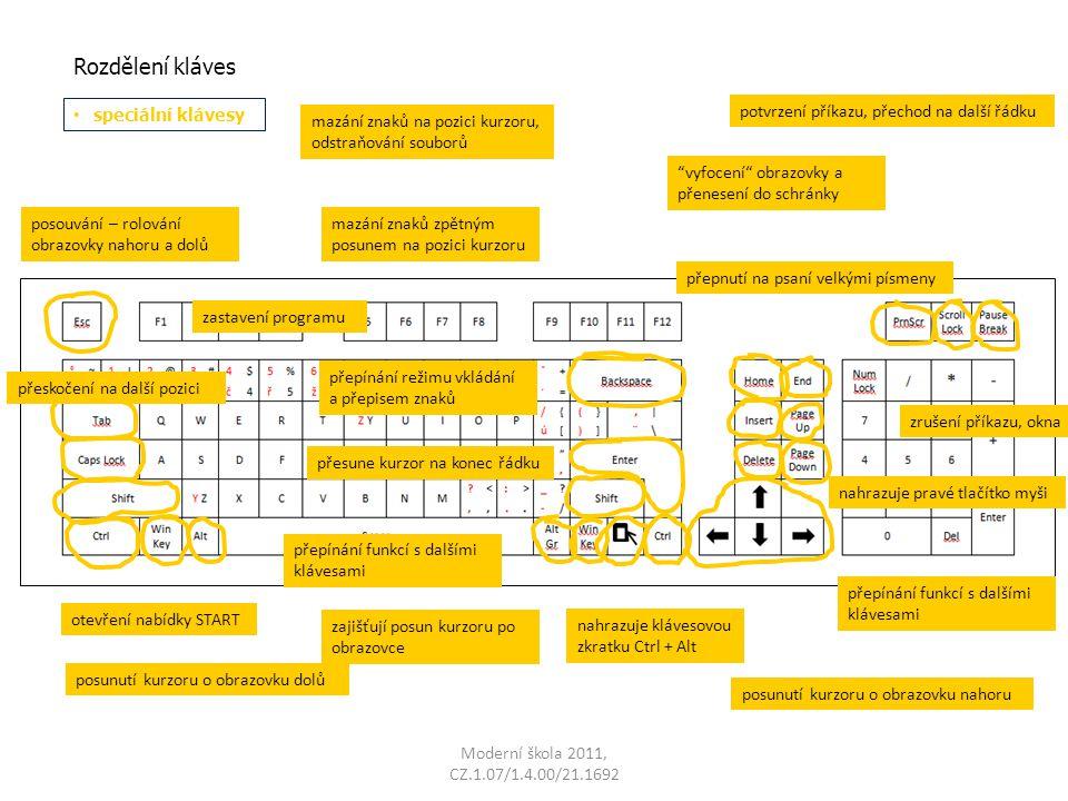 Moderní škola 2011, CZ.1.07/1.4.00/21.1692 Rozdělení kláves speciální klávesy zrušení příkazu, okna přeskočení na další pozici přepnutí na psaní velkými písmeny posouvání – rolování obrazovky nahoru a dolů vyfocení obrazovky a přenesení do schránky zastavení programu přepínání režimu vkládání a přepisem znaků mazání znaků na pozici kurzoru, odstraňování souborů mazání znaků zpětným posunem na pozici kurzoru přesune kurzor na konec řádku potvrzení příkazu, přechod na další řádku nahrazuje klávesovou zkratku Ctrl + Alt otevření nabídky START přepínání funkcí s dalšími klávesami zajišťují posun kurzoru po obrazovce nahrazuje pravé tlačítko myši posunutí kurzoru o obrazovku dolů posunutí kurzoru o obrazovku nahoru