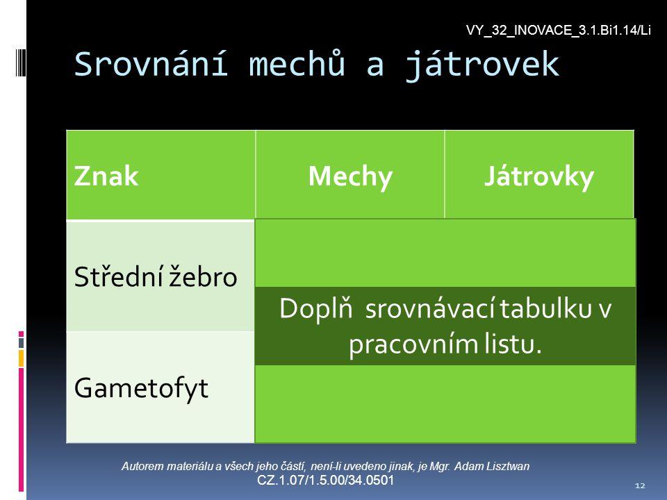 Srovnání mechů a játrovek ZnakMechyJátrovky Střední žebroAnoNe GametofytRozlišený Lupenitý, méně rozlišený Doplň srovnávací tabulku v pracovním listu.