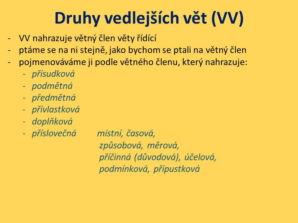 Druhy vedlejších vět (VV) -VV nahrazuje větný člen věty řídící -ptáme se na ni stejně, jako bychom se ptali na větný člen -pojmenováváme ji podle větn