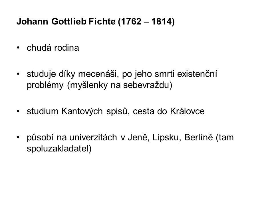 Johann Gottlieb Fichte (1762 – 1814) chudá rodina studuje díky mecenáši, po jeho smrti existenční problémy (myšlenky na sebevraždu) studium Kantových spisů, cesta do Královce působí na univerzitách v Jeně, Lipsku, Berlíně (tam spoluzakladatel)