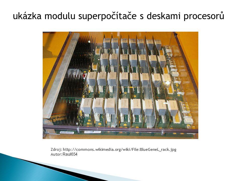 ukázka modulu superpočítače s deskami procesorů Zdroj: http://commons.wikimedia.org/wiki/File:BlueGeneL_rack.jpg Autor: Raul654