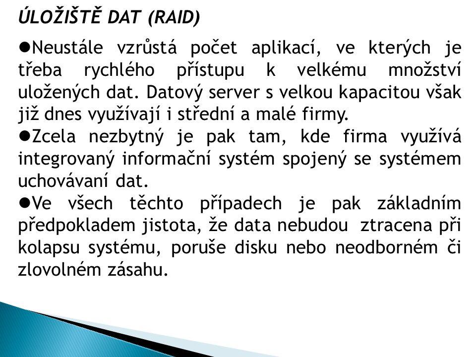 ÚLOŽIŠTĚ DAT (RAID) Neustále vzrůstá počet aplikací, ve kterých je třeba rychlého přístupu k velkému množství uložených dat.