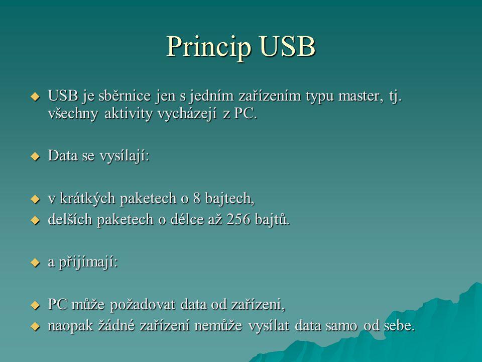 Princip USB  USB je sběrnice jen s jedním zařízením typu master, tj.