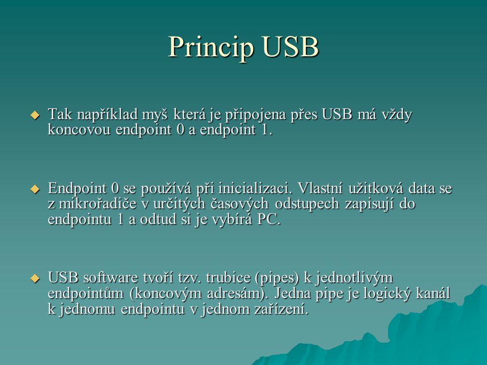 Princip USB  Tak například myš která je připojena přes USB má vždy koncovou endpoint 0 a endpoint 1.