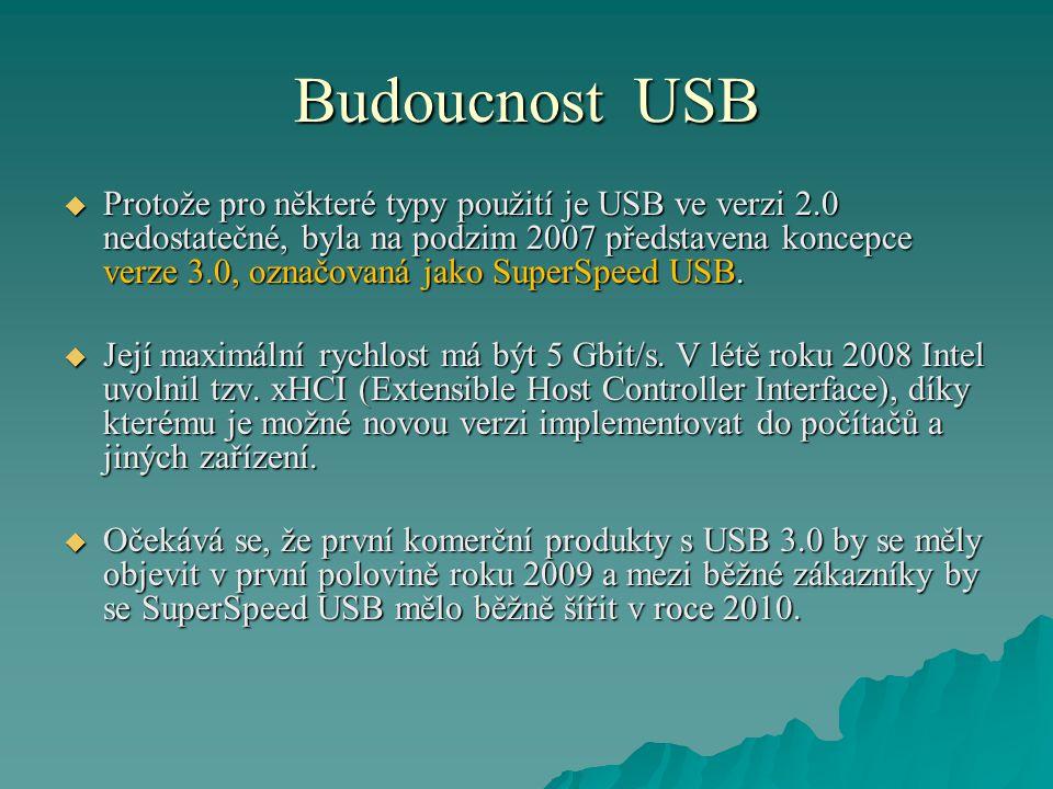 Budoucnost USB  Protože pro některé typy použití je USB ve verzi 2.0 nedostatečné, byla na podzim 2007 představena koncepce verze 3.0, označovaná jako SuperSpeed USB.