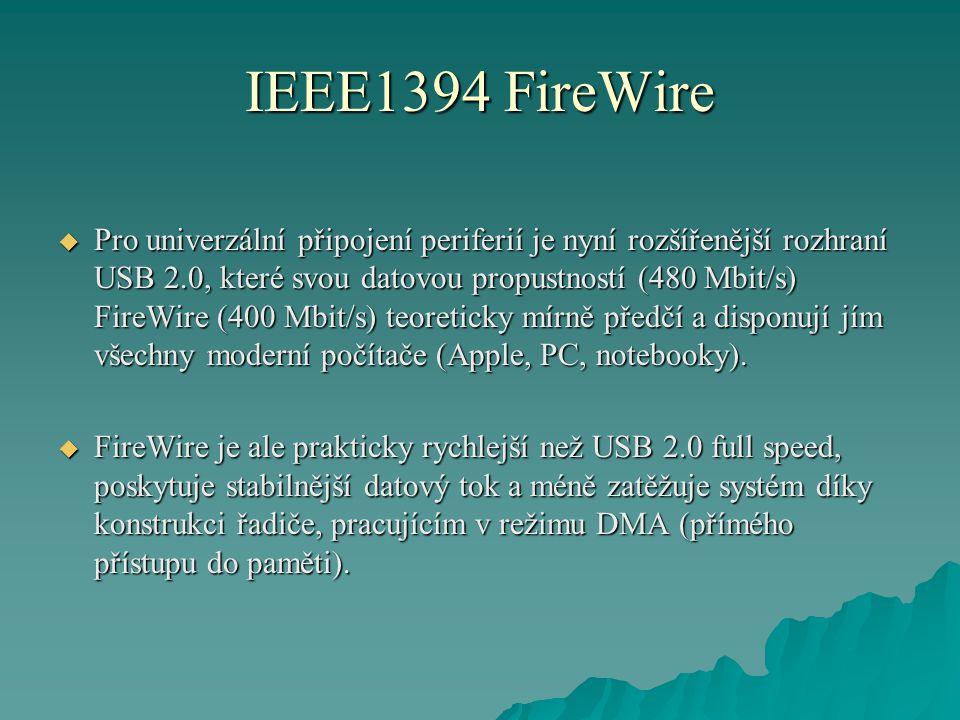 IEEE1394 FireWire  Pro univerzální připojení periferií je nyní rozšířenější rozhraní USB 2.0, které svou datovou propustností (480 Mbit/s) FireWire (400 Mbit/s) teoreticky mírně předčí a disponují jím všechny moderní počítače (Apple, PC, notebooky).