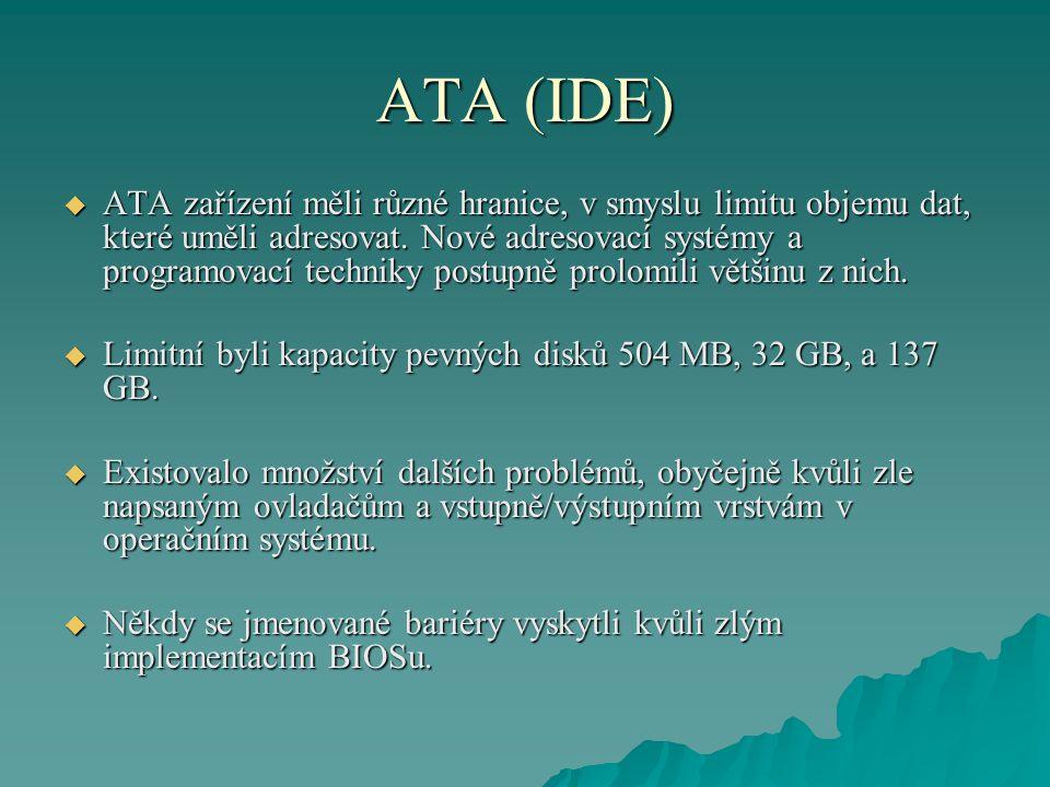 ATA (IDE)  ATA zařízení měli různé hranice, v smyslu limitu objemu dat, které uměli adresovat.