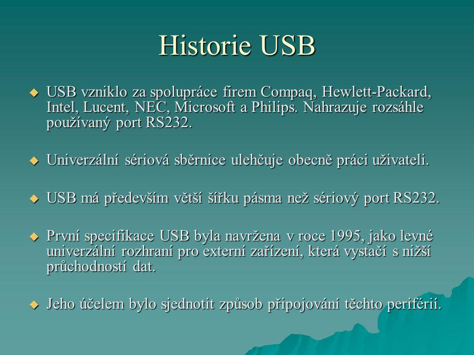 Historie USB  USB vzniklo za spolupráce firem Compaq, Hewlett-Packard, Intel, Lucent, NEC, Microsoft a Philips.