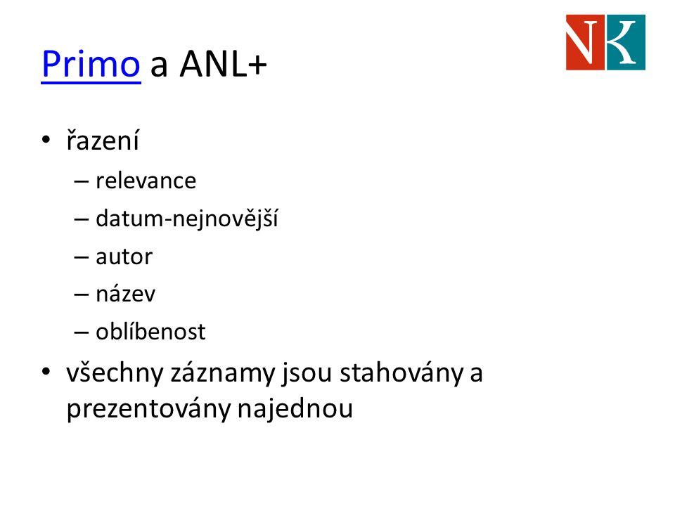 PrimoPrimo a ANL+ řazení – relevance – datum-nejnovější – autor – název – oblíbenost všechny záznamy jsou stahovány a prezentovány najednou