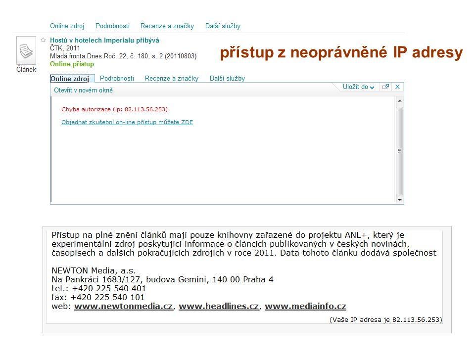 přístup z neoprávněné IP adresy