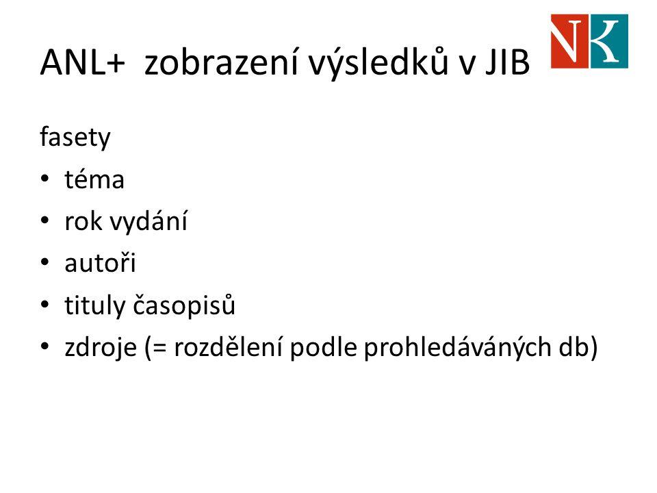 ANL+ zobrazení výsledků v JIB fasety téma rok vydání autoři tituly časopisů zdroje (= rozdělení podle prohledáváných db)
