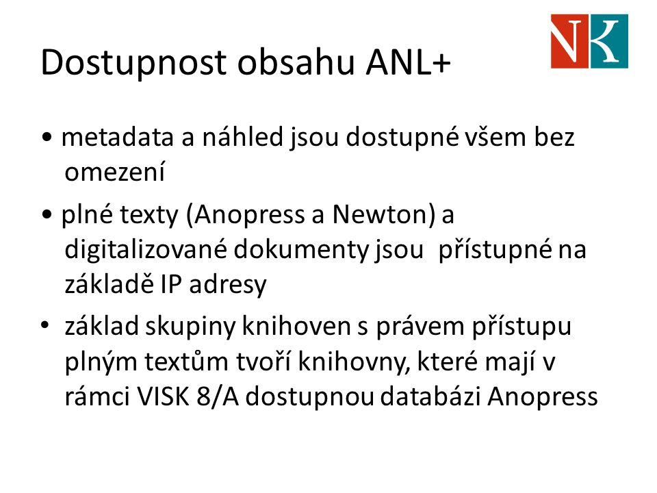 Dostupnost obsahu ANL+ metadata a náhled jsou dostupné všem bez omezení plné texty (Anopress a Newton) a digitalizované dokumenty jsou přístupné na zá