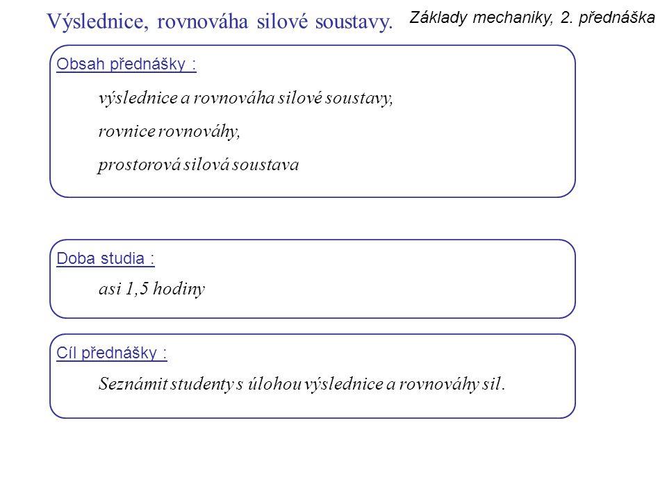 Základy mechaniky, 2. přednáška Obsah přednášky : výslednice a rovnováha silové soustavy, rovnice rovnováhy, prostorová silová soustava Doba studia :