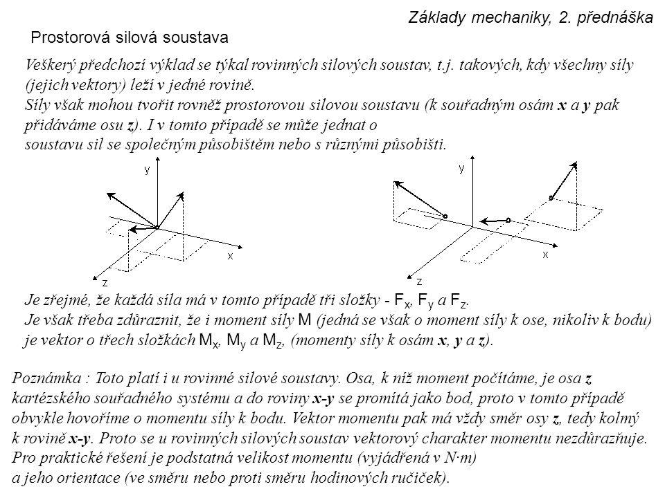 Základy mechaniky, 2. přednáška Prostorová silová soustava Veškerý předchozí výklad se týkal rovinných silových soustav, t.j. takových, kdy všechny sí
