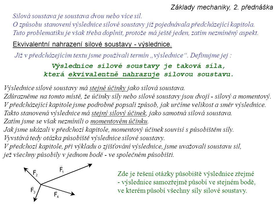 Základy mechaniky, 2. přednáška Silová soustava je soustava dvou nebo více sil. O způsobu stanovení výslednice silové soustavy již pojednávala předchá