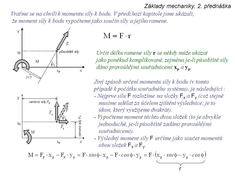 Základy mechaniky, 2. přednáška Vraťme se na chvíli k momentu síly k bodu. V předchozí kapitole jsme ukázali, že moment síly k bodu vypočteme jako sou