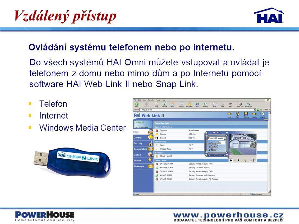 Vzdálený přístup Ovládání systému telefonem nebo po internetu. Do všech systémů HAI Omni můžete vstupovat a ovládat je telefonem z domu nebo mimo dům